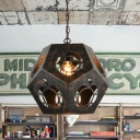 Bronze Finish 1-Light Hanging Lamp Rustic Style Metal Laser-Cut Geometry Pendant Light