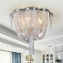 Tassel Aluminium Semi Flush Light Modernism 5 Lights Living Room Ceiling Lighting in Chrome