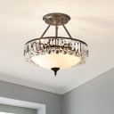 Cream Glass Brass Semi Flush Bowl 4-Light Contemporary Ceiling Flush with Crystal Accent