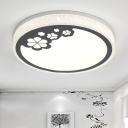Metal Round Ceiling Mounted Light Modernist LED Flush Lamp in White and Black with Leaf Pattern