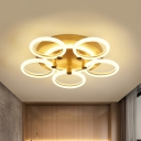 Modernism Loop Semi Flush Mount Light Acrylic 5 Heads Bedroom LED Flushmount Lamp in Gold