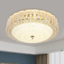 Ivory Glass Circular Flush Light Modern LED Living Room Flush Mount in Gold with Crystal