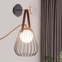 Black Finish Pear Cage Sconce Minimalist 1-Head Iron LED Wall Lighting with Leatherwear Handle