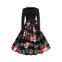 Cute Girls Cat Note Printed Panel Bow Tie Waist Long Sleeve Round Neck Mid Pleated Swing Dress in Black