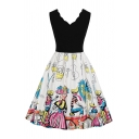Black Cartoon Figure Print Patched Sleeveless Scalloped V-Neck Gorgeous Mid Pleated Swing Dress for Girls