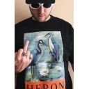 Cool Black Letter Heron Crane Graphic Short Sleeve Crew Neck Loose Fit T-Shirt for Men