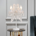 Candlestick Parlor Table Lamp Antique Crystal 2-Light White/Gold Nightstand Light with Swirl Arm