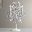 Victorian Candle Style Table Lamp 4 Lights Crystal Nightstand Light in White for Living Room
