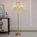 Crystal Strand Gold Standing Floor Light Candlestick 5 Heads Victorian Stand Up Lamp with Swirl Arm