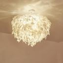 White Leaf Semi Flush Mount Lighting Contemporary 4 Lights Fabric Flush Ceiling Lamp for Bedroom