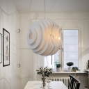 1 Light Dining Room Pendant Lighting Modernist White Hanging Ceiling Lamp with Honeycomb Shape Metal Shade