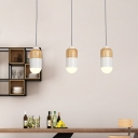 Modernism Capsule Multi Light Pendant Metal 3 Lights Dining Room LED Suspension Lamp in White and Wood