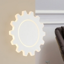 Acrylic Gear Shaped Wall Sconce Light Nordic LED White/Black Wall Mounted Lamp in White/Warm Light, 5