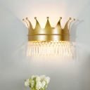 Crown Shaped Metal LED Sconce Lighting Cartoon 2 Heads Gold Finish Wall Lamp Fixture with Crystal Drop Deco