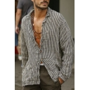 Stylish Mens Long Sleeve Lapel Neck Button Up Stripe Printed Loose Fit Shirt in Gray
