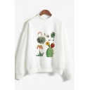 Popular Womens Long Sleeve Crew Neck Cactus Printed Loose Fitted Pullover Sweatshirt
