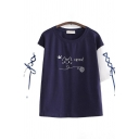 Casual Three-Quarter Sleeve Round Neck Lace Up Cartoon Cat Graphic Colorblock Relaxed Tee Top