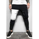 Streetwear Boys Mid Waist Flap Pockets Strap Colorblock Cuffed Ankle Fit Utility Pants