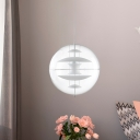 Modernist Ball Hanging Lighting Clear Acrylic 1-Head Pendant with White/Gold/Silver Disc Deco Inside
