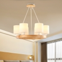 Cylinder Chandelier Pendant Light Modern White Glass 4/6/8-Light Wood Ring Hanging Ceiling Lamp