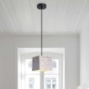 Cube Hanging Lighting Modern Nordic Terrazzo 1 Light White Ceiling Pendant Lamp for Restaurant