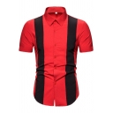 New Trendy Boys Short Sleeve Point Collar Button Up Color Block Curved Hem Regular Fit Red and Black Shirt Top