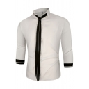 Formal Mens Three-Quarter Sleeve Spread Collar Stripe Print Button Down Slim Fit Shirt with Tie
