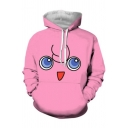 Cute Fashion Boys Long Sleeve Drawstring Cartoon Face 3D Pattern Pouch Pocket Relaxed Hoodie in Pink