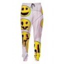 Popular Mens Drawstring Waist Cartoon Face Dizzy Plaid Pattern Color Block Cuffed Tapered Fit Sweatpants in White