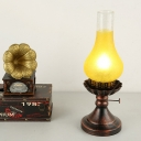 Vase Dining Room Table Lighting Warehouse Tan/Yellow Crackle Glass 1 Head Copper Finish Desk Lamp with Metal Base
