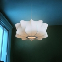 Modernist Propeller Lantern Suspension Light Fabric 1 Light Living Room Pendant in White