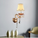 Bell Fabric Wall Light Fixture Traditional 1 Head Bedroom Wall Sconce Lighting in Beige with Crystal Droplets