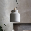 Grey 1-Head Pendant Lighting Antiqued Cement Can/Barn Hanging Lamp Kit over Bar Island, 7