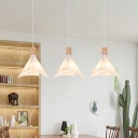 Simplistic Cone Multi Ceiling Light Acrylic 3 Bulbs Living Room Suspended Lighting Fixture in White