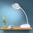 Round Adjustable Reading Book Light Modern Plastic LED White Desk Lamp for Study Room