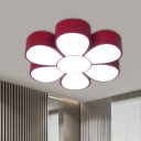 Acrylic Flower Flush Light Fixture Contemporary Red/Green/Yellow LED Ceiling Mount for Kindergarten