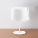 Classic Twisty Nightstand Light 1 Head Iron Table Lamp with Tapered Drum Shade in White