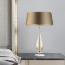 Brown 1 Head Table Lamp Rural Fabric Cone Shade Nightstand Light with Vase Glass Pedestal