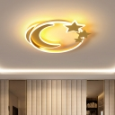 Moon and Star Acrylic Flush Light Minimalist LED Golden Finish Ceiling Mounted Fixture for Bedroom