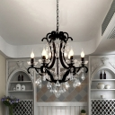 6/8 Bulbs Scroll Arm Chandelier Light Traditional Black Finish Metal Ceiling Pendant Lamp with Crystal Drop