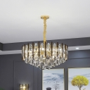 Modernist Conic Block Hanging Chandelier 7 Bulbs Clear Crystal Ceiling Pendant Light with Drum Design