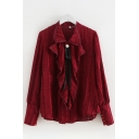 Fancy Gorgeous Ladies Long Sleeve Lapel Collar Bow Tie Ruffled Trim Relaxed Fit Chiffon Shirt Top in Burgundy