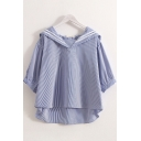 Preppy Girls Three-Quarter Sleeve Sailor Collar Stripe Printed High Low Hem Relaxed Shirt