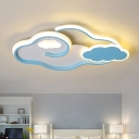 Acrylic Cloud Ceiling Flush Contemporary Blue LED Flushmount Lighting Fixture for Bedroom