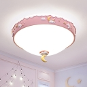 Kids Style Waterdrop Shaped Ceiling Mount Acrylic Bedroom Cloud Pattern LED Flush Light Fixture with Moon and Star in Pink/Blue