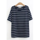Classic Womens Short Sleeve Round Neck Stripe Printed Loose Fit T-Shirt