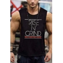 Popular Muscleguys Fitness Bodybuilding NO PAIN NO GAIN Letter Printed Sleeveless Round Neck Workout Tank Top for Men