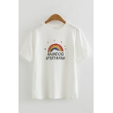 Trendy Girls Short Sleeve Crew Neck Letter RAINBOQ AFTERTHERAIN Rainbow Graphic Relaxed Tee Top