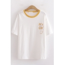 Simple Stylish Womens Short Sleeve Round Neck Letter IT'S OK Smile Face Graphic Contrasted Relaxed T Shirt