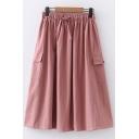 Pretty Girls Drawstring Waist Flap Pockets Solid Color Midi Pleated A-Line Cargo Skirt